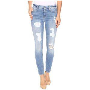7FAM Distressed Light Wash Skinny Jeans
